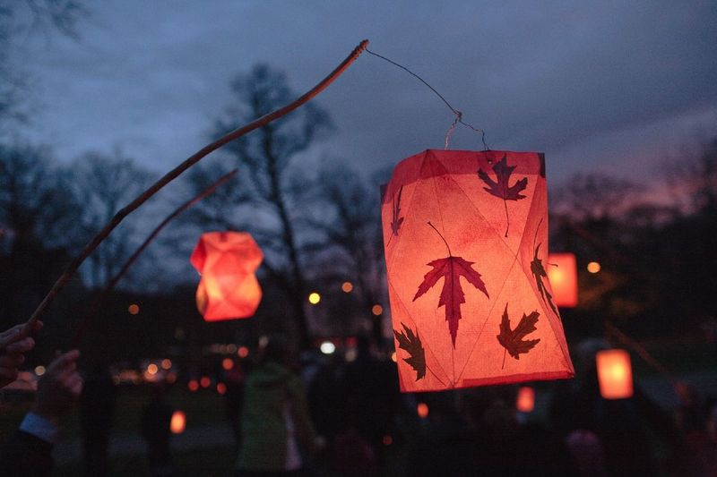 Atmospheric Mood Autumn Close-up Dusk Fall Focus On Foreground Illuminated Lamp Lantern Lanternfestival Leaf Outdoors Outline Sky Symbol Tall