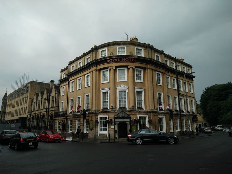 TOWNSCAPE Town Grey United Kingdom England Somerset Bath Bath Spa Royal Hotel Architecture Car City Cityscape Day Fame No People Outdoors Street Travel Destinations Old Vintage Transportation Land Vehicle Sky Built Structure Mode Of Transport Building Exterior Cloud - Sky Road