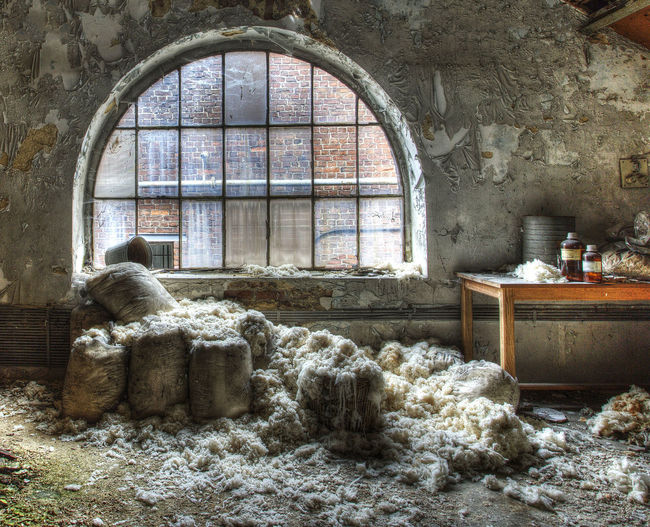 Abandoned Arch Architecture Gunny Bags Lightfall No People Old Factory Wind Frame Window Light Wool Windows Grazing Light Deserted Places Deserted Building Abandoned Places Still Life Lonely Place  Interior Design Wool Abandoned Buildings