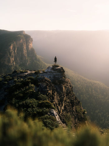 An afternoon hiking out to Lockley's Pylon, Blue Mountains, Australia Australia Australian Landscape Eye Em Nature Lover Travel Adventure Beauty In Nature Bluemountains Cliff Full Length Hiking Landscape Mountain Nature One Man Only One Person Outdoors Peak People Real People Scenics Sky Standing Tranquil Scene Tranquility Week On Eyeem Go Higher Summer Exploratorium