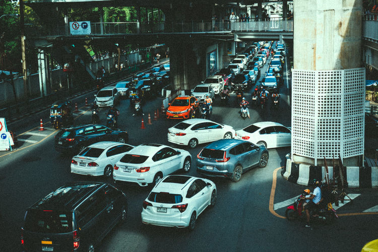 Life in city Car City City Life City Street High Angle View Mode Of Transportation Motion on the move Road Street Traffic Traffic Jam Transportation Travel