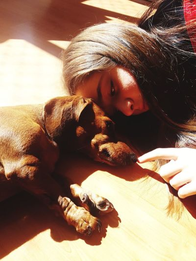 Close-up of girl with dog lying on bed at home