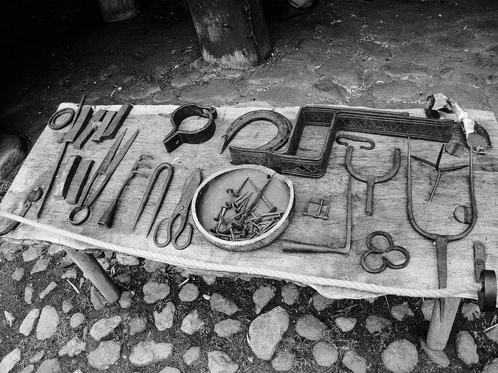 Old tools Wooden Table Old Tools Blackandwhite Denmark Rock Floor