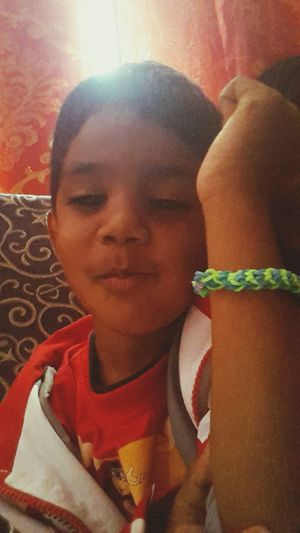 Proud of his loom band bracelet