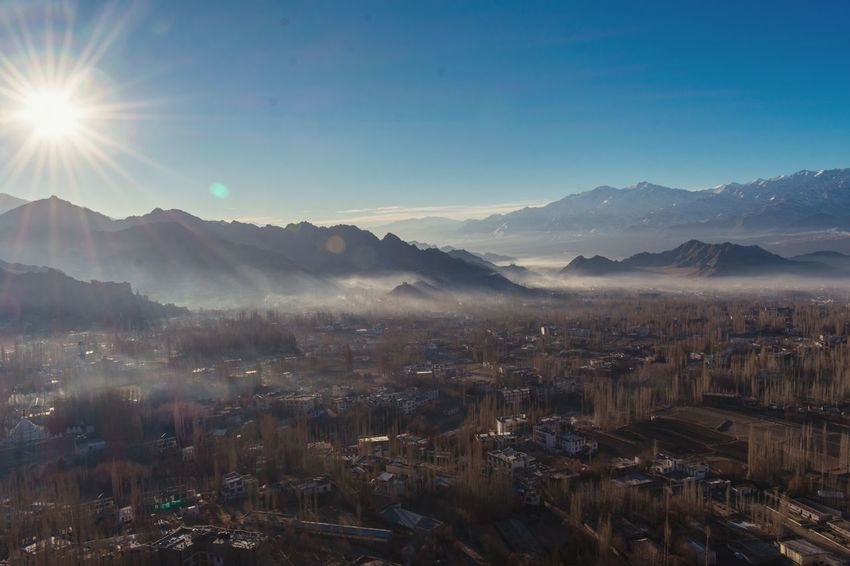 Leh town in morning Winterinladakh Ladakh Landscape Leh View Morning Sky Morning Foggy Morning Smoke Leh Ladakh Aerial View EyeEm Best Shots Eye4photography  EyeEm Gallery EyeEm Selects EyeEmBestPics Eyeemphotography Mountain Fog Sky Morning Outdoors Tree Sun Mountain Range No People Sunlight Landscape City Nature Beauty In Nature Freshness