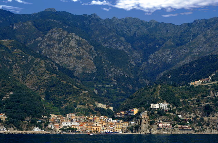View of Cetara on the Amalfi coast, Italy Amalfi Coast Cetara Architecture Building Exterior Built Structure City Cityscape Day Harbor House Italy Landscape Mountain Mountain Range Nature No People Outdoors Sea Sky Town View Into Land Water Waterfront