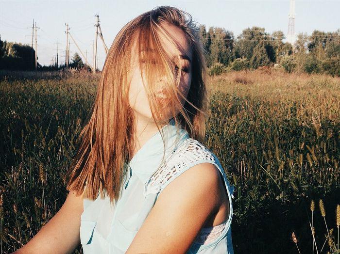 Woman Posing Against Field
