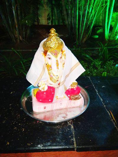 Ganesha Visarjan Close-up Statue Idol Ganesha Golden Color