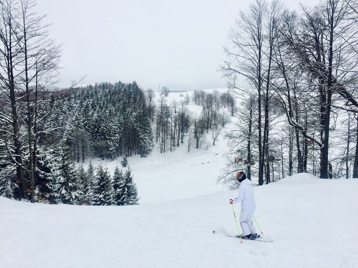 Woman in white skiing on the slope Winter Snow Cold Temperature Tree Real People Weather Warm Clothing Nature Leisure Activity Lifestyles Day One Person Full Length Outdoors Sky Skiing Skis Skiers Alone Winter Snow Slope Winter#mountains
