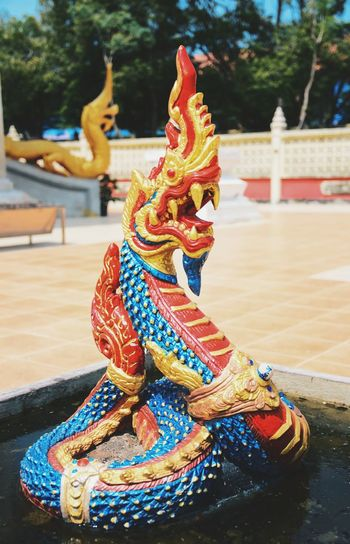 The colorful of the Nagas in the Thai temple Nâgas Religion Tradition Sculpture Worship Amazing Architecture Church Buildings Amazing Thailand Buddhism Amazing Exquisite Place Of Worship Temple Art And Craft Thailand Travel Thai Temple Colorful Travel Exquisite Beauty Architecture Statue Close-up Outdoors Elégance Culture