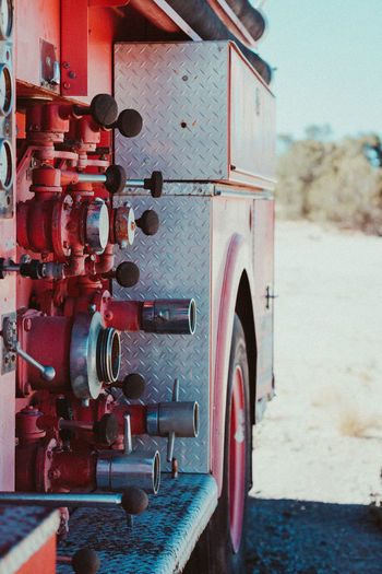 Close-up of fire engine outdoors