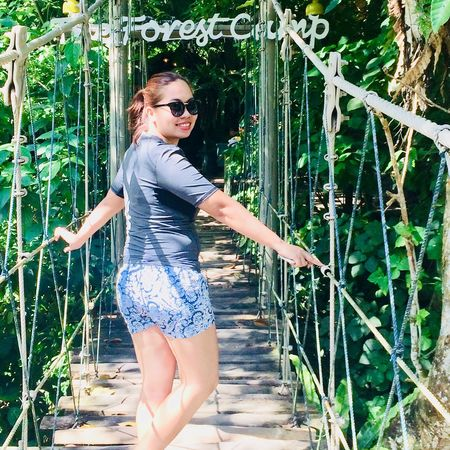 a journey into the forest Independent Woman Forest Camp Freedom Hanging Bridge Journey Carefree Glance Portrait Beauty Beautiful People Summer Smiling Fun