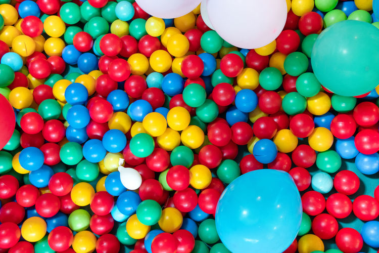 High angle view of multi colored balloons balls