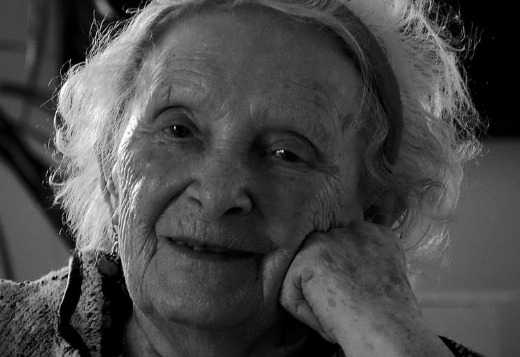 Close-up portrait of old woman