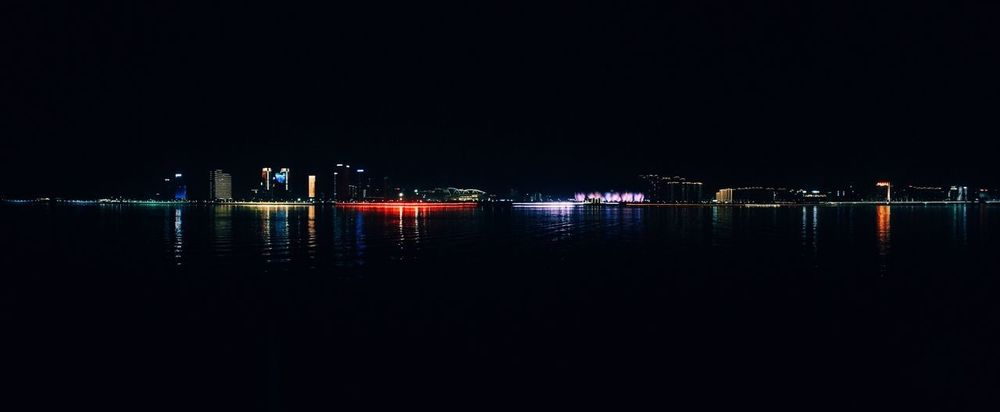 Night Water Illuminated Sky Reflection Architecture Copy Space Waterfront Building Light Outdoors City No People