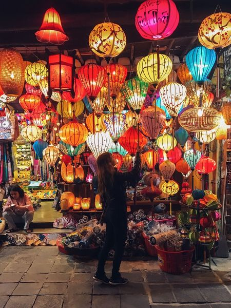 Urb Street Photography Hoi An Ancient Town Multi Colored Full Length Large Group Of Objects Illuminated For Sale Market Lantern Standing Variation Choice Hanging Real People Women Adults Only Outdoors Night Retail