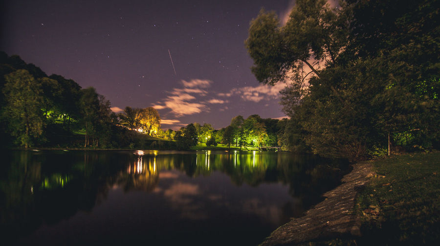 Reflection Of Trees In Lake At Night