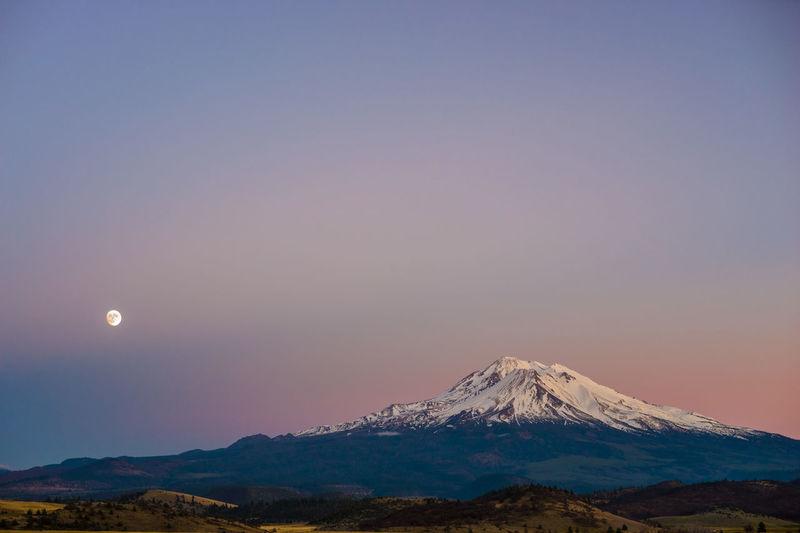 Shasta Moonrise Beauty In Nature Landscape Moon Mountain Mountain Range Nature Night No People Outdoors Scenics Sky