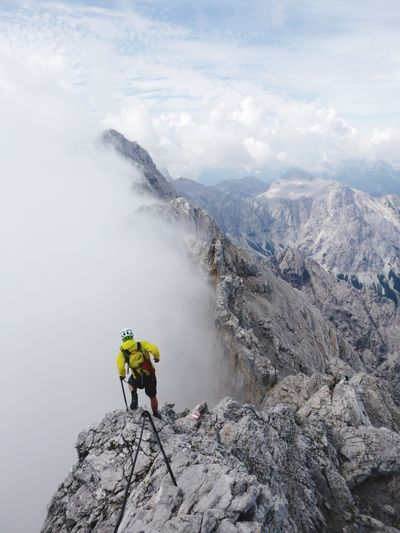 Alpine mountain run on Watzmann, Germany Mountain Danger Adventure RISK Nature Men One Person Rock - Object Day Backpack Cloud - Sky Leisure Activity Courage Only Men Lifestyles One Man Only Outdoors Activity Motion