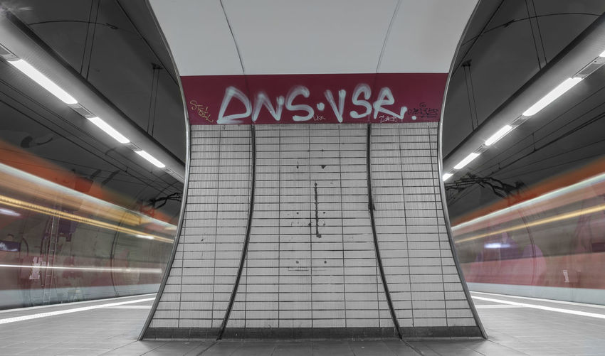 Text on railroad station platform