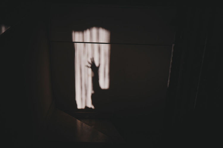 Shadow of hand on window at home