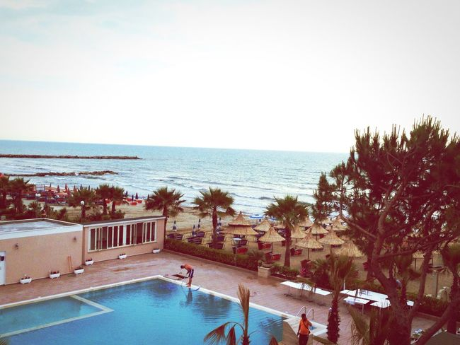 Room with a view 😊 Adriatic Sea EyeEm Albania Æphotography Albania Albanian Seaside Plazh Sea Sun Palm Trees
