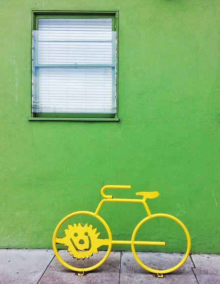 In the Haight... Bike Rack Bike Yellow Green Wall Urban Window The Haight San Francisco Snapseed Samsung Galaxy S3 Bright Colorful Colourful Geometric Shapes