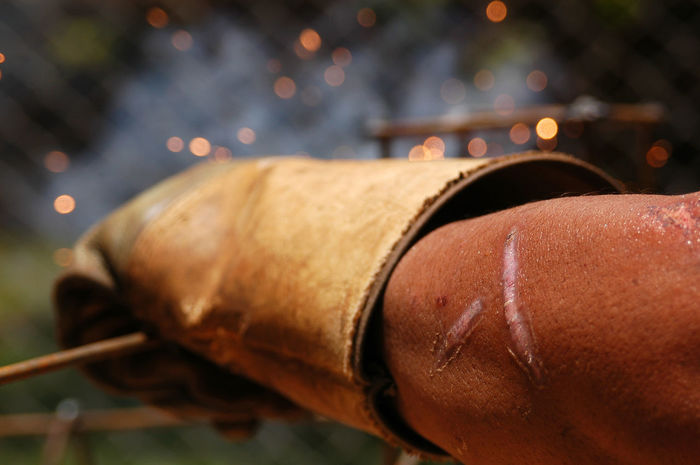 Arm Close-up Hand Ock Steel One Person Outdoors Work Gloves Worker Workers At Work Wound