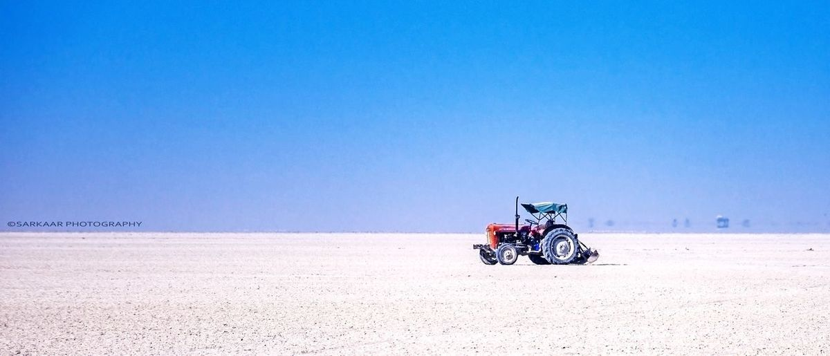 sambhar lake, rajasthan Salt Basin Saltlife Inland Salt Lake Tractor Love Rajasthandiaries India Clear Sky Desert Blue Sand Summer First Eyeem Photo