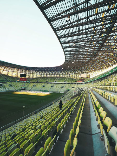 Arena Architecture Built Structure Clear Sky Day Gdansk No People Seats Seats Available Sky Sport Arena Stadium