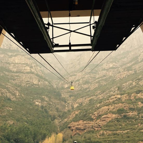 Yellow Cable Car Barcelona Catalunya Mountains