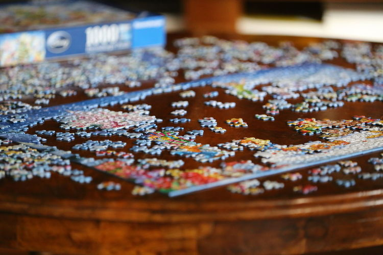 Close-up of jigsaw puzzle on a table
