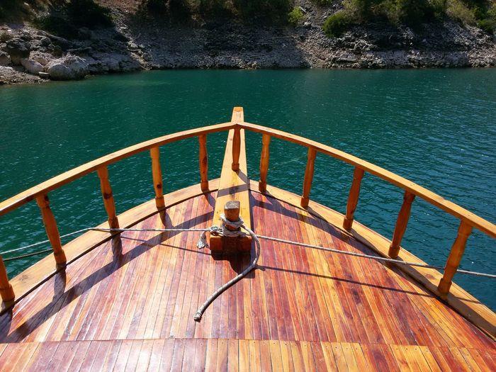 High Angle View Of Pier Over Calm Lake