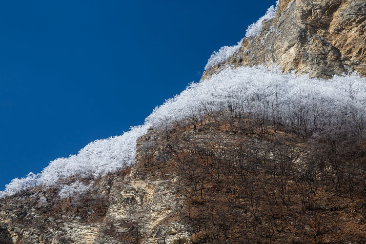 Low angle view of icicles on rock against clear blue sky