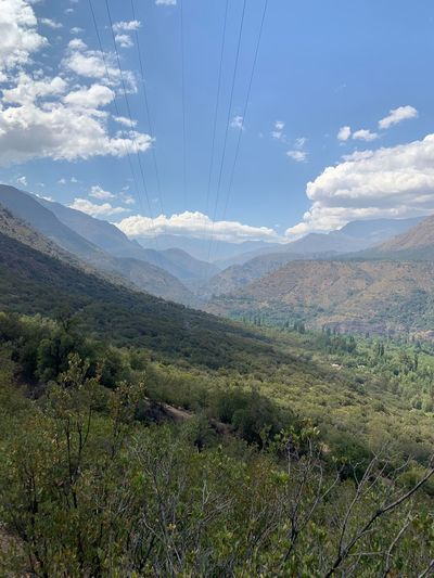 Cordillera San Jose De Maipo Cajon Del Maipo Chile America Del Sur Sky Beauty In Nature Scenics - Nature Nature Plant No People Cloud - Sky Day Tranquil Scene Tranquility Land Landscape Green Color Growth Outdoors Environment