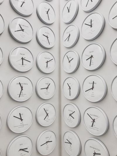 Full frame shot of clocks with text on white wall