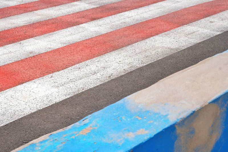 Fuerteventura Pedestrianway Day Backgrounds Pattern No People Full Frame High Angle View Marking Textured  Road Marking Road Blue Close-up Outdoors Built Structure Striped White Color