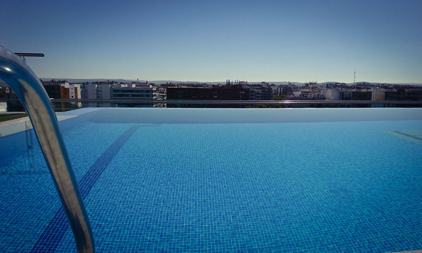 Water Blue Swimming Pool Outdoors Clear Sky Day No People Winter Sky Nature Architecture City Ice Hockey
