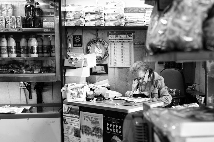 Blackandwhite Business Cashier  FUJIFILM X-T1 Indoors  Old Woman Rome Shop Store Streetphotography