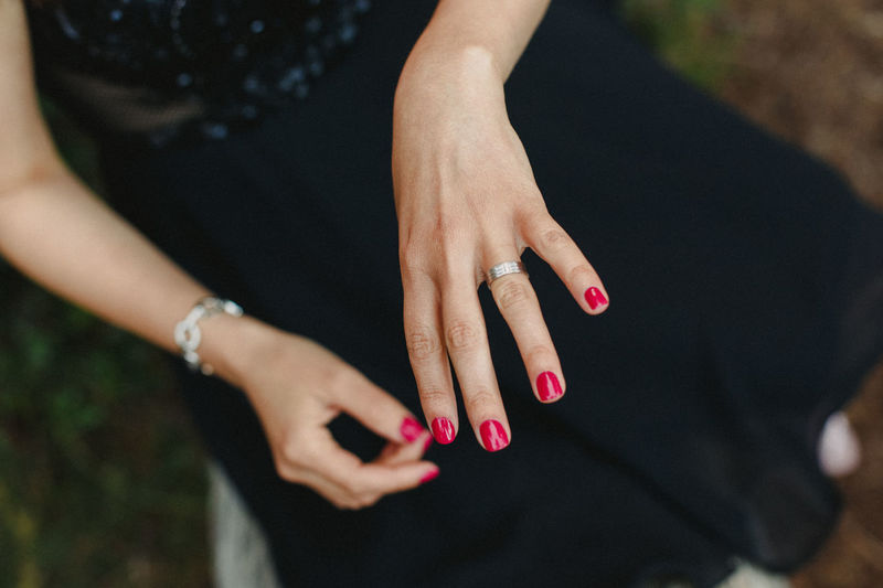 Midsection of woman showing ring