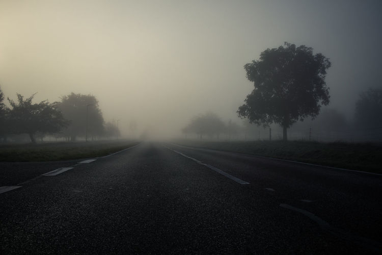 Empty road amidst trees against sky during foggy weather