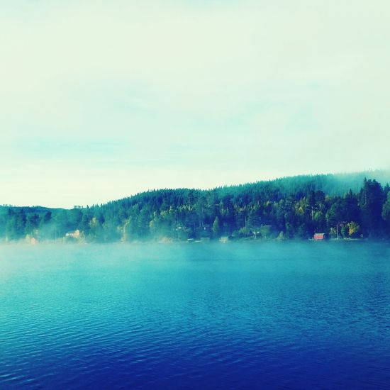 Fog on the lake Earlymorning  Lake View Autumn Collection Malmsjøen Norway 2015