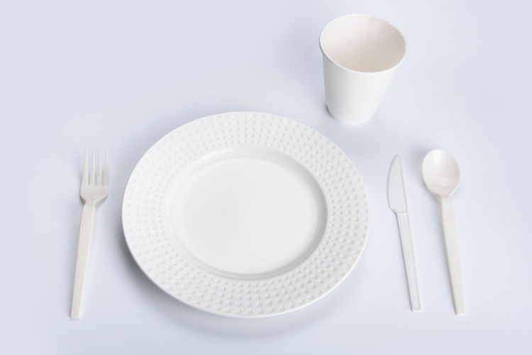 Empty meal Diet Paper Cup Vicious Blank Bored Close-up Dieting Directly Above Drink Empty Food Food And Drink Fork High Angle View Indoors  Lose Weight No People Plastic Plate Studio Shot Table White Background