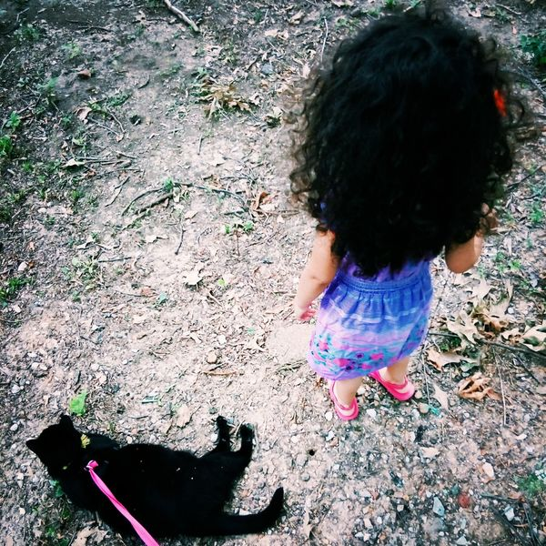 Curly Hair Girl Power Cat Walking Outside First Eyeem Photo