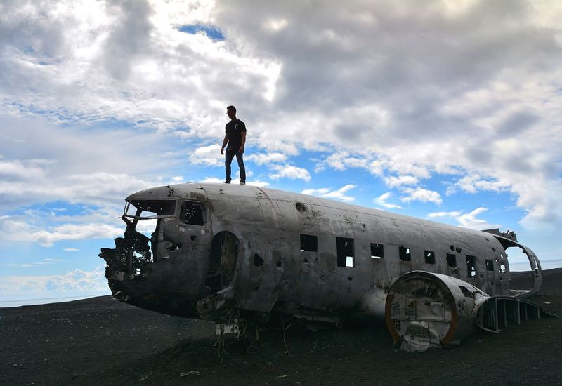 Cloud - Sky Airplane Military Military Airplane Sky Transportation Abandoned Air Vehicle Outdoors Navy Day Fighter Plane People One Person Pilot Adult Iceland Travel Destinations Travel Beautiful Nature