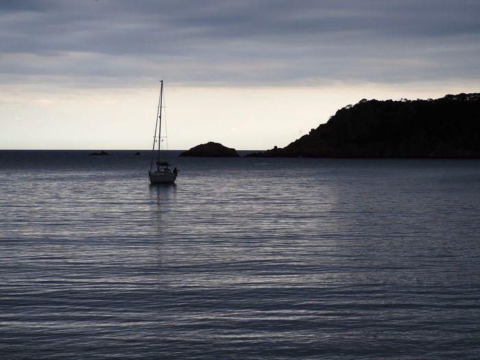 Sailboat sailing on sea against sky at sunset