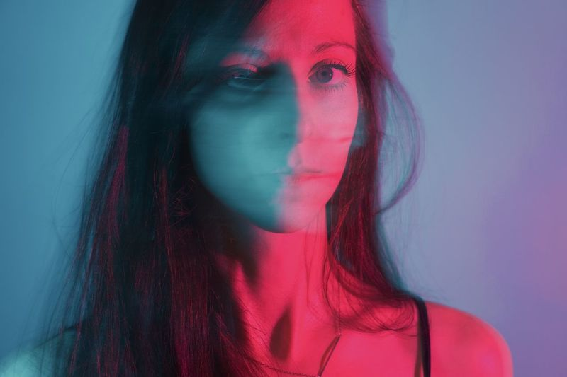 Untitled, really Red And Blue Color Gels Shutter Drag Self Portrait Young Adult One Person Portrait Young Women Women Headshot Beautiful Woman Studio Shot Fashion Close-up Human Face