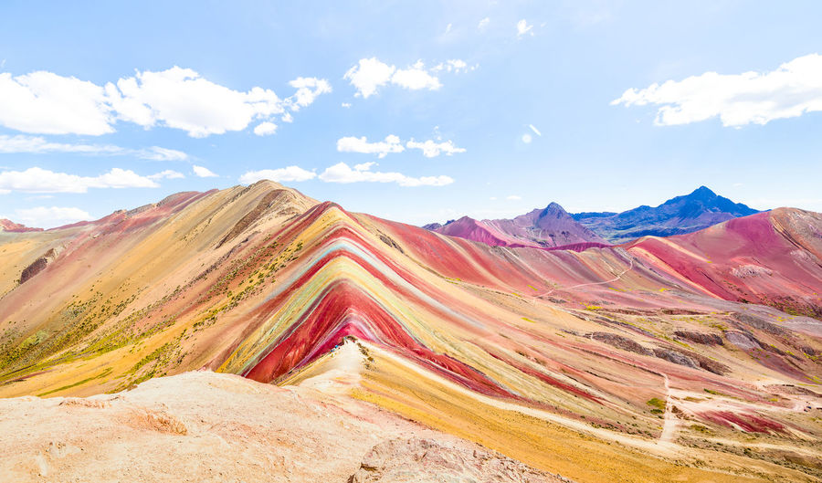 Panoramic view of Rainbow Mountain at Vinicunca mount in Peru - Travel and wanderlust concept exploring world nature wonders - Vivid multicolor filter with bright enhanced color tones Rainbow Colors Mountain Mountains Rainbow Mountain Peru Cusco Vinicunca Peruvian Multicolored Siete Colores Montana Majestic Panorama Panoramic Exploring Hike Travel Travel Destinations Wanderlust Nature Wonder World Top Altitude