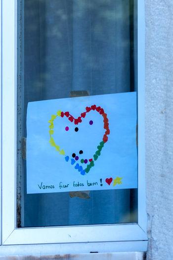 Heart shape on glass window