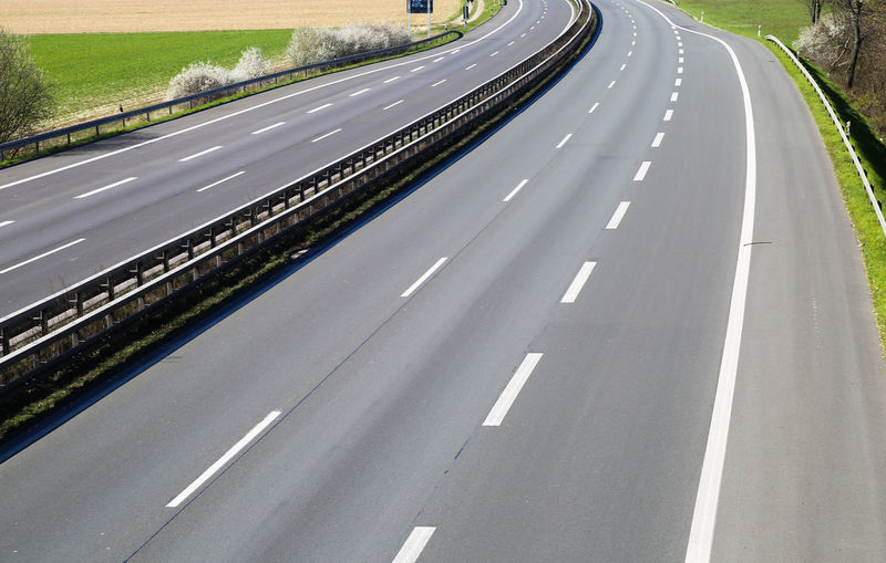 High angle view of highway on road in city